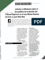 Claves - Algunos Comentarios y Reflexiones Caso Mariam Ramirez vs Juan Mari Bras
