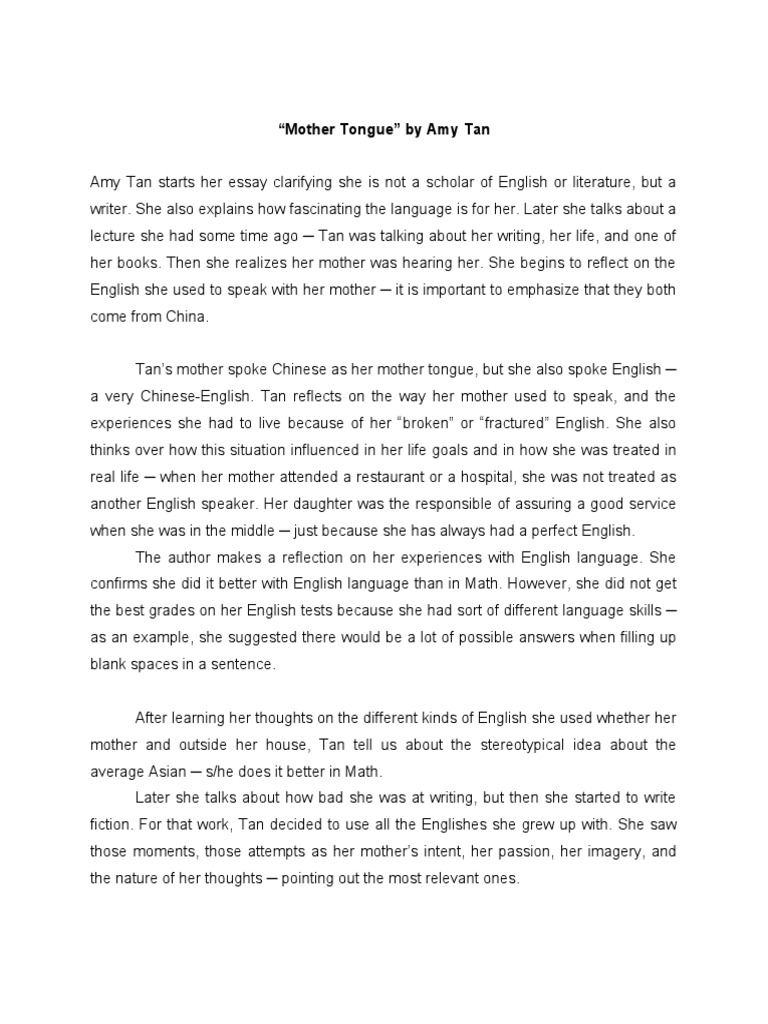 amy tan summary essay Title: mother tongue, by amy tan - mother tounge author: heather simon created date: 20130801180907z.
