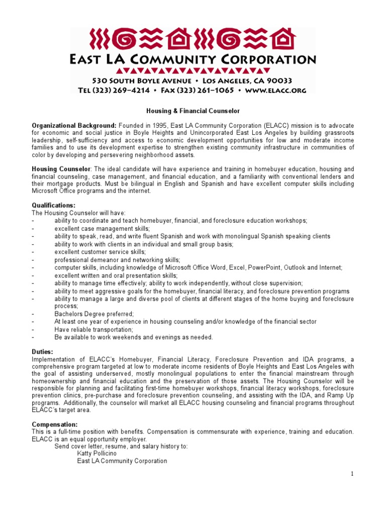 Housing Counselor Job Description 9 18 2009 | School Counselor | Foreclosure