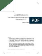 Gestion Humana y Sus Aportes a Las Organizaciones Colombianas