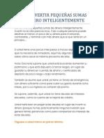 CÓMO INVERTIR PEQUEÑAS SUMAS DE DINERO INTELIGENTEMENTE