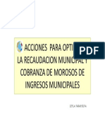 Acciones Optimizar Recaudacion Municipal. Ecuador
