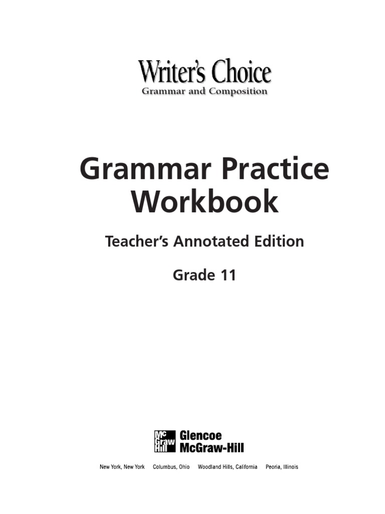 Uncategorized Glencoe Mcgraw-hill Worksheet Answers grammar practice workbook verb subject grammar