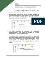CONSTRUCCIÓN DEL MODELO PPL EN HOJA DE CÁLCULO