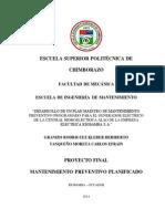 Plan Maestro de Mantenimiento Preventivo Central Alao Eersa