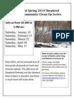 Shepherd Parkway Community Clean-Up Schedule