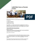 Public Health Risk Seen as Parents Reject Vaccines