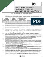PROVA 01 - ANALISE SISTEMAS - DESENVOLVIMENTO DE APLICAÇÕES