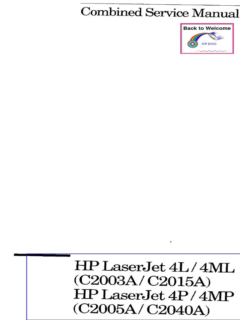 laserjet 4l 4ml 4p 4mp service manual printer computing rh scribd com HP Instruction Manuals HP Instruction Manuals