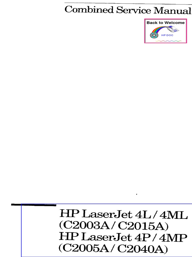 Laserjet 4l, 4ml, 4p, 4mp Service Manual | Printer (Computing) | Hewlett  Packard
