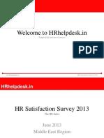 HR Satisfaction Survey 2013 Middle East Region