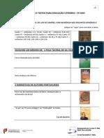 LISTA DE OBRAS E TEXTOS PARA EDUCAÇÃO LITERÁRIA 9º ano