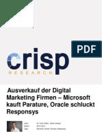 Ausverkauf der Digital Marketing Firmen - Microsoft kauft Parature, Oracle schluckt Responsys