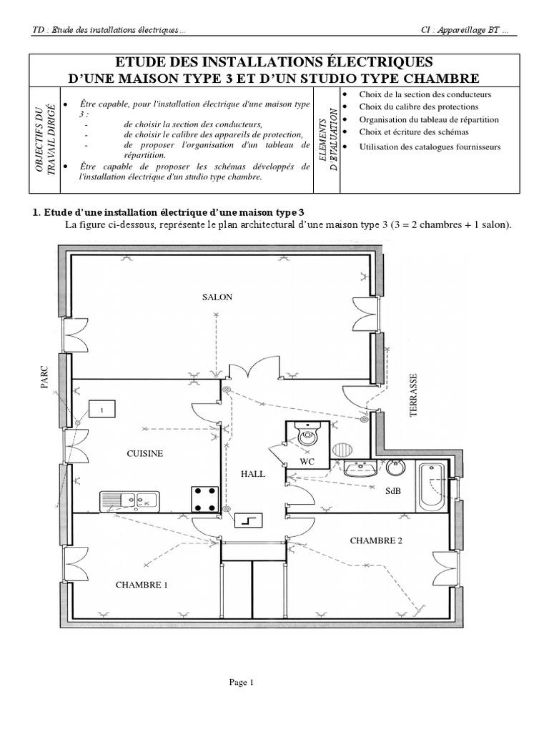 tude des installations lectriques dune maison - Plan D Installation Electrique Maison