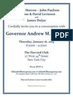 Cuomo at Harvard Club Invite