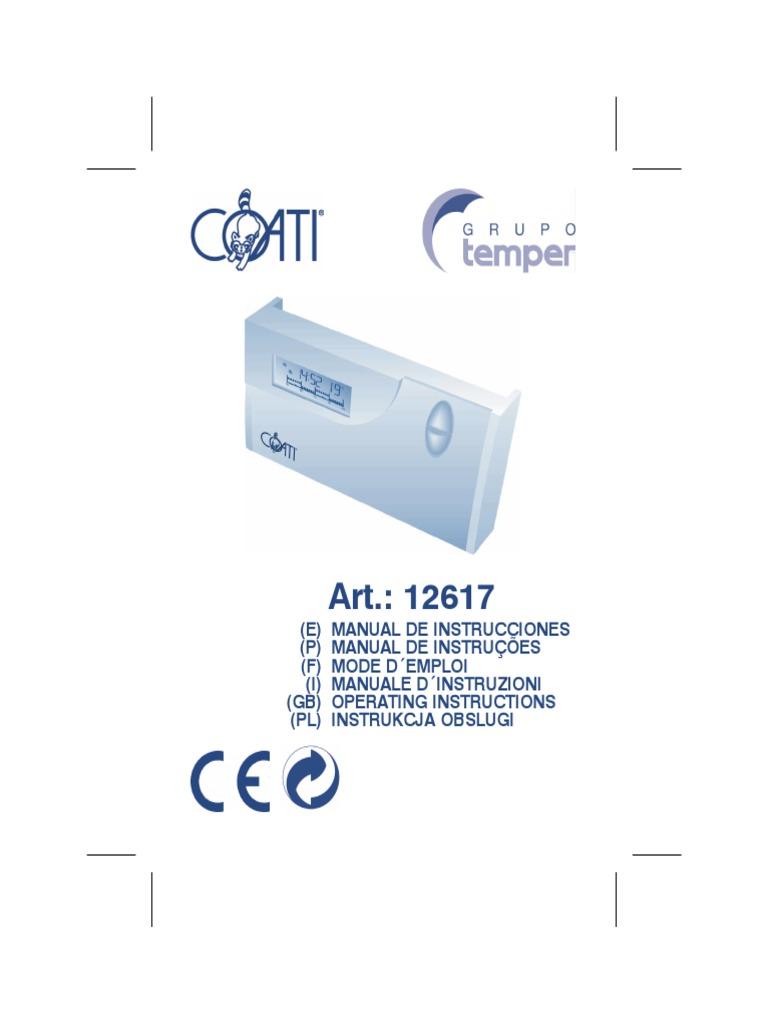 Manual termostato for Cronotermostato vimar 01910 manuale istruzioni