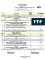 Table of Specification 3rd Grad 2013-14