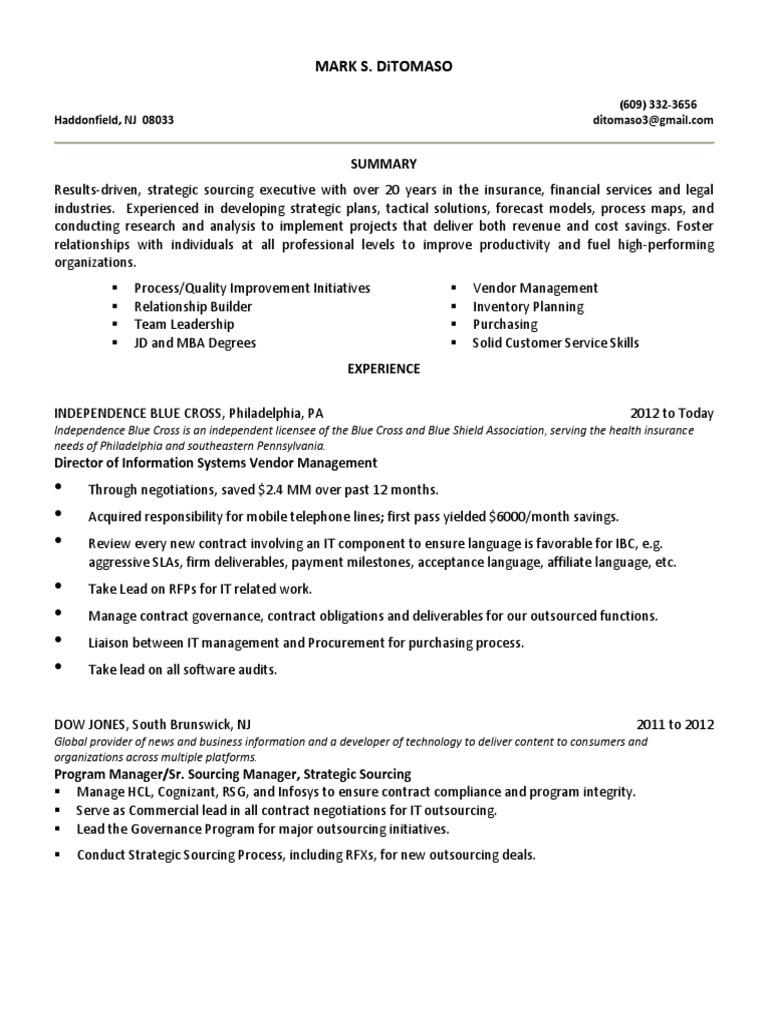 director it vendor management in philadelphia pa resume