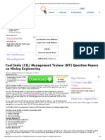 Coal India (CIL) Management Trainee (MT) Question Papers on Mining Engineering