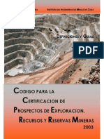 Codigo Para La Certtificacion de Prospecto de Exploracion, Recursos y Reservas Mineras Chileno