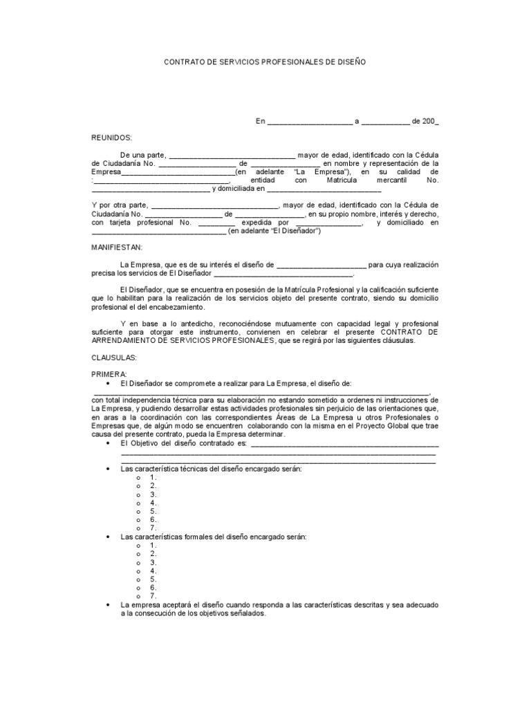Formato contrato de servicios profesionales dise ador for Diseno de interiores un manual pdf