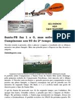 Santa-PB faz 1 a 0, mas sofre empate do Campinense aos 50 do 2º tempo