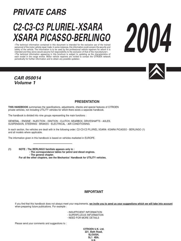2004 C2 C3 C3 Pluriel Xsara Picasso Berlingo