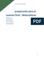 Guía de preparación para el examen final Matematicas