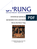 Sprung Investment Management Commentary - 4th Quarter, 2013