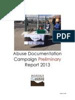 Abuse Documentation Campaign Preliminary Report 2013