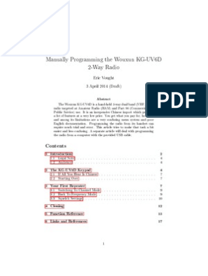 Manually Programming The Wouxun KG-UV6D | Audio Electronics
