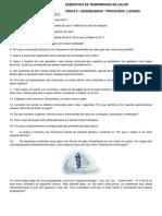 LISTA DE EXERCICIOS FÍSICA II - PROCESSOS DE TRANSMISSÃO DE CALOR - ENGENHARIA CIVIL