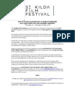 MEDIA RELEASE - Academy Accredited St Kilda Film Festival