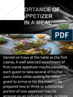 Importance of Appetizer Report