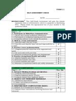 1.1 Self Assesment Checklist