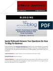 Blog Post Sandy Mcdonald Answers Your Questions on How to Blog for Business