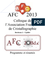 AFC 2013 Programme et Résumés