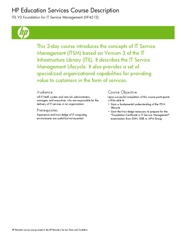 Itil V3 Foundation Hf421s Itil It Service Management