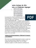 Diferencia entre Autismo de Alto Funcionamiento y el Síndrome Asperger
