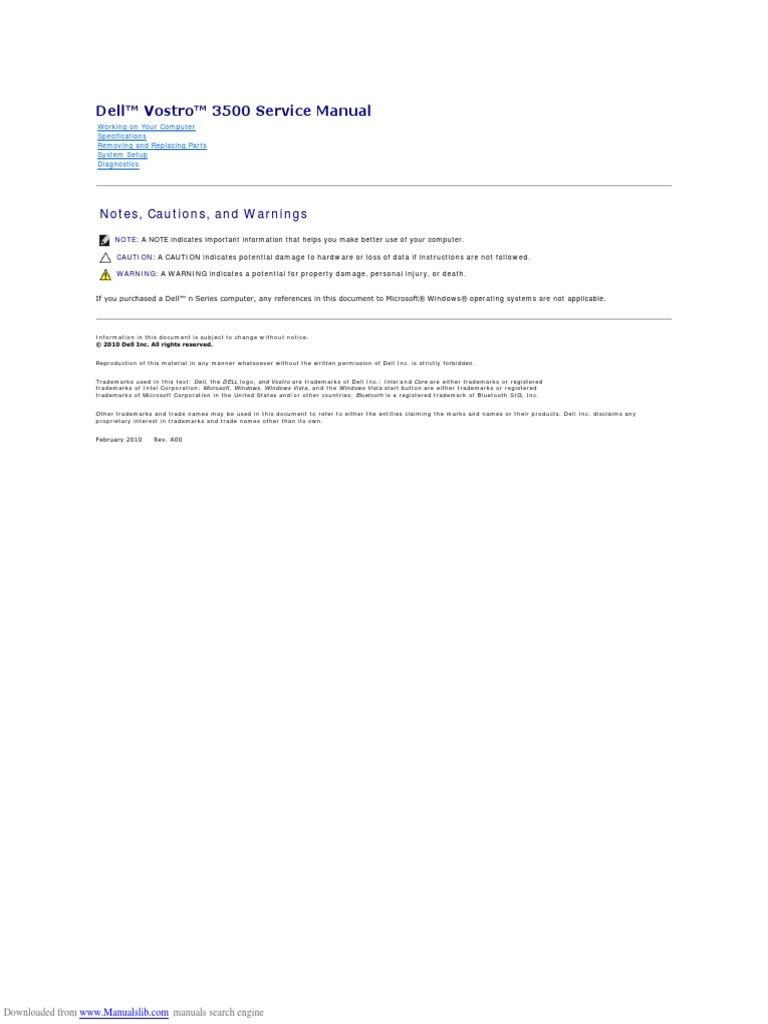dell vostro service manual computer keyboard usb rh scribd com Dell Vostro 3500 Specifications Dell Vostro 3500 Drivers