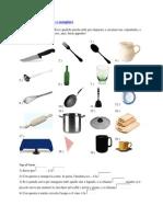 Gli Oggetti Per Cucinare e Mangiare