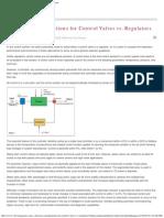 Selection Considerations for Control Valves vs. Regulators