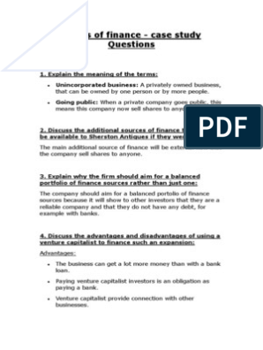 finance case study questions