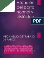 Mecanismo de trabajo de parto; atención del parto normal y distócico