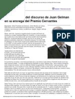Página_12 __ El país __ Texto íntegro del discurso de Juan Gelman en la entrega del Premio Cervantes