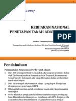 Kebijakan nasional Penetapan Tanah Adat/Ulayat