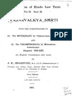 YDh.1.Mitaksara.tr.Gharpure.pt2Mitākṣarā of Vijñāneśvara on Yājñavalkya-Dharmaśāstra, pt 2 of Gharpure's translation.