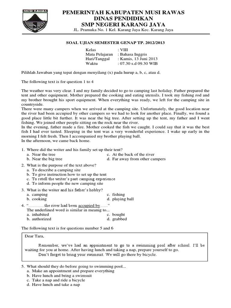 Soal Ujian Semester Bahasa Inggris Kelas Sd Download Lengkap