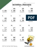 sasasDouble Digit Addition Regrouping Worksheet