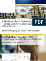 SAP Global Batch Tracebility